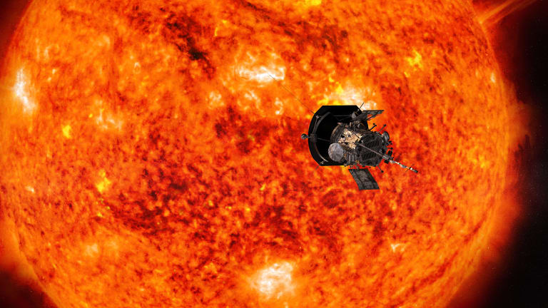 This illustration from NASA shows Parker Solar Probe spacecraft approaching the sun.