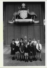 Reg St Leon outside the Supreme Court with pupils, May 7, 1986.