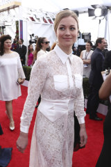 Yvonne Strahovski, nominated for an Emmy this year, pictured arriving at the Screen Actors Guild Awards.