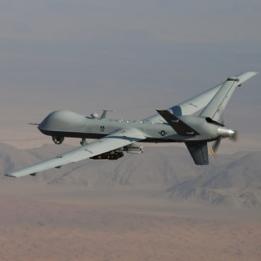 A General Atomics Reaper unmanned aerial vehicle in flight.