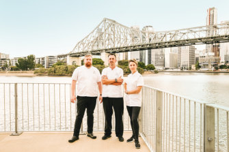 Chefs Patrick Friesen, David Finlayson and Alanna Sapwell have all moved from southern cities to Brisbane.  (Image has been digitally altered).