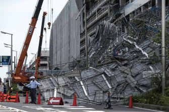 A construction site at Tokyo's Haneda Airport was destroyed by Typhoon Faxai.