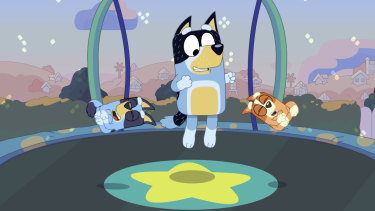 Bandit plays on the trampoline with Bluey and Bingo.