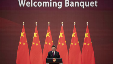 Chinese President Xi Jinping makes his speech at the Belt and Road Forum at the Great Hall of the People in Beijing in April.