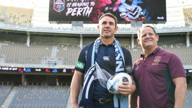 Big occasion: State coaches Brad Fittler and Kevin Walters at Optus Stadium in Perth.