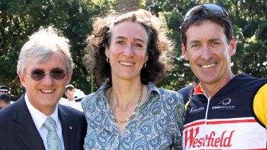 Steven Lowy, left, and Mark Ryan, right, with Sally Dunwoodie.
