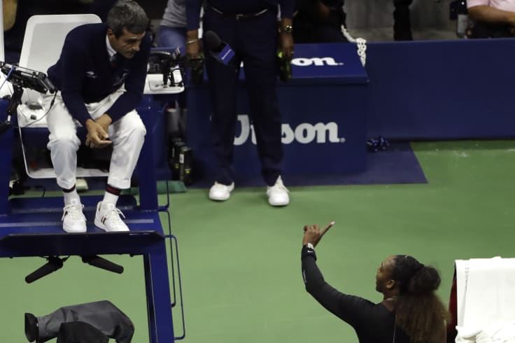 Serena Williams and Carlos Ramos clash during the women's US Open final.