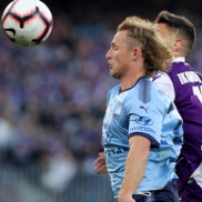 Rhyan Grant of Sydney controls the ball during the A-League Grand Final match between the Perth Glory and the Sydney FC at Optus Stadium in Perth, Sunday, May 19, 2019.