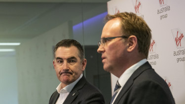 Virgin Australia CEO Paul Scurrah and administrator Vaughan Strawbridge from Deloitte.