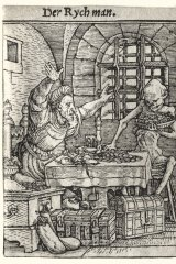 The Miser from Hans Holbein's woodcut series Dance of Death