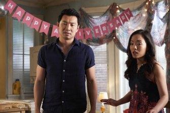 Simu Liu as Jung and Andrea Bang as Janet in Kim's Convenience.