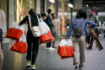 Early shoppers were out grabbing some bargains on Bourke Street on Thursday.