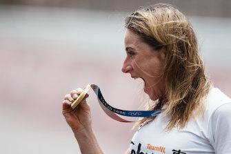 Annemiek van Vleuten enjoys claiming gold in the women's individual time trial.