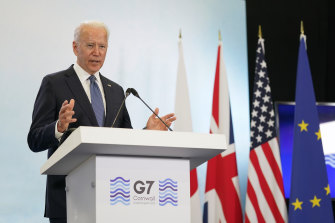 US President Joe Biden during a news conference at the G7 summit on Sunday.