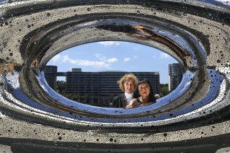 Among the stars: MCA director Elizabeth Ann Macgregor (left) and artist Lindy Lee.