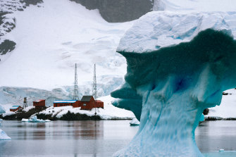 Isolated life: An iceberg drifts past Argentina's Brown Station in Antarctica.