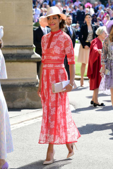 Blush is the new nude ... Suits star Gina Torres nails the wedding-guest look.