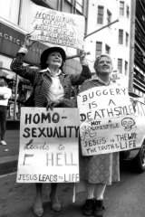 Christians opposed to the Gay rights bill being passed through State Parliament protest outside Parliament House in Sydney on 15 May 1984.