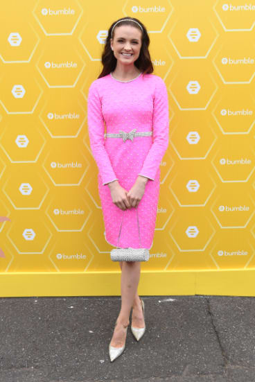 Jackie O vibes ... Laura Henshaw in the Bumble marquee.