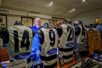More than a fan: Geelong Football Club vice-president Bob Gartland has a vast private memorabilia collection.