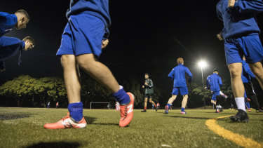 Dulwich Hill FC trains on Arlington Oval's artificial turf.