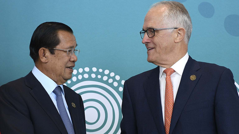 Prime Minister Malcolm Turnbull with Cambodian Prime Minister Hun Sen in Sydney last week.
