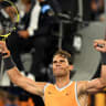 Powering on: Rafael Nadal celebrates his victory over Alex de Minaur.