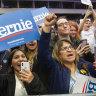 Twitter just like this: fans cheer for Democratic presidential candidate US Senator Bernie Sanders.