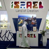 The Israel stand on the opening day of the Arabian Travel Market exhibition in Dubai on Sunday.