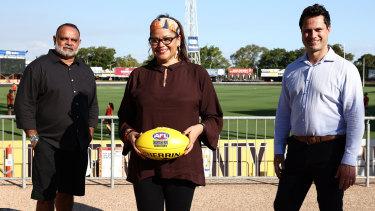 Michael Long, AFL inclusion and social policy boss Tanya Hosch, and Gavin Wanganeen in Darwin last year.