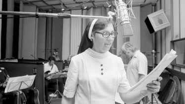 """Sister Janet Mead recording her LP on April 2, 1974. """"I can't believe people would go and buy it just because it's sung by a nun,"""" she said of her hit record."""