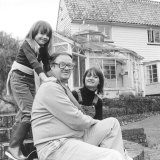 Emily, aged seven, at home in Buckinghamshire, with her parents John Mortimer, QC, and Penelope (known as Penny Two).