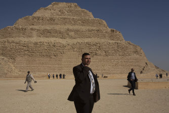 A security guard near the Step Pyramid in Saqqara, Egypt.