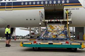 The first shipment of Pfizer coronavirus vaccines arrived in Sydney on Monday.