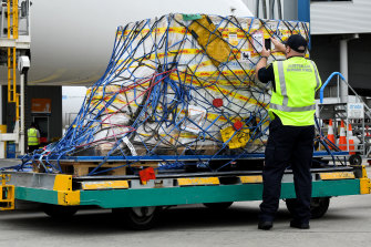 The first Australian shipment of Pfizer COVID-19 vaccines arrived in Australia on Monday.