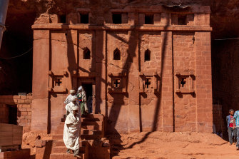 Christian Pilgrims At Bete Abba Libanos Church, Lalibela, a  holy site that is now under the control of Tigrayan forces.