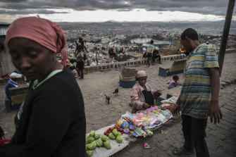 A vendor selling goods in Antananarivo, Madagascar, in late May 2019.