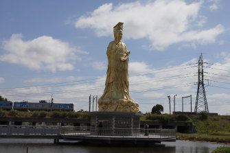 The statue of Mazu at the Heavenly Queen Temple in Footscray.
