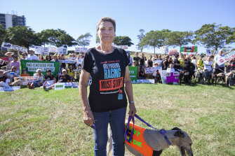 Lorraine Ramsay with rescue greyhound Sandy at the Anti-Greyhound Racing Rally at Sydney Park, St Peters on April 14, 2018.