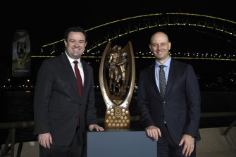 Todd Greenberg, right, with NSW tourism minister Stuart Ayres at the grand final week launch on Monday night.