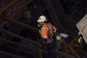 A worker in the Sydney Metro's 10 metre deep 'station box' at Central Station.