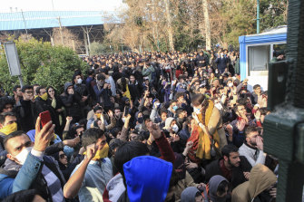 December 2017: university students attend a protest in Tehran, Iran.