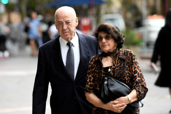 Former Labor minister Eddie Obeid arrives at the NSW Supreme Court, accompanied by his wife Judy Obeid, on Monday.