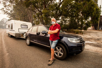 John Edwards, from Patterson Lakes, joins the second convoy departing Mallacoota for Eden.