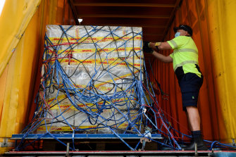 The first Australian shipment of Pfizer's COVID-19 vaccine is loaded onto a truck after arriving in Sydney last week. Now the vaccine has arrived in Brisbane too.
