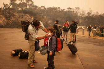 People stranded in Mallacoota after the bushfires that ravaged the town on December 30.