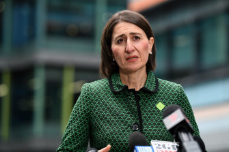 NSW Premier Gladys Berejiklian speaks to the media during a press conference in Sydney on Tuesday.
