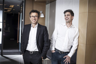 Afterpay executives Anthony Eisen and Nick Molnar. The experts don't agree on what the company is worth.
