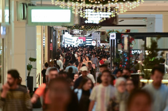 Shoppers are seen at Westfield Parramatta during Boxing Day sales.