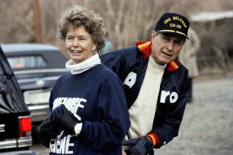 President George HW Bush pictured with his sister, Nancy Ellis, in 1990.